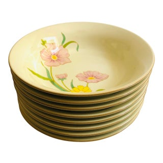 "Vintage Mikasa Celadon Glaze ""Winsome ""Pattern Floral Design Soup Bowls - Set of 8 For Sale"