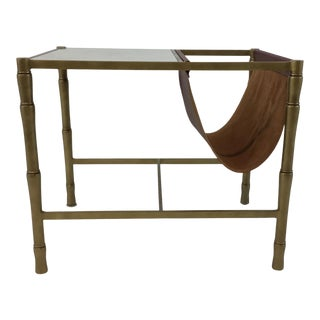 Modern Currey and Co. Gold and Leather Magazine Rack End Table For Sale
