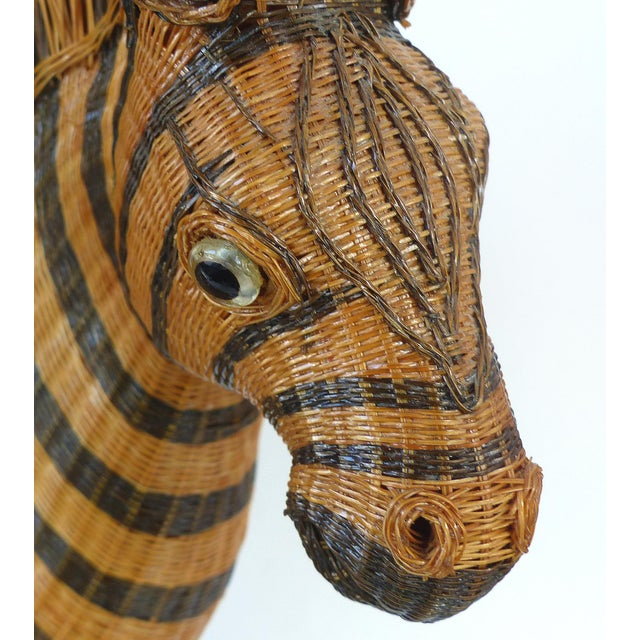 Brown Chinese Woven Reed Zebra Trinket Box For Sale - Image 8 of 13