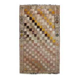 Hand-Knotted Mid-Century Vintage Gabbeh Rug in Beige Pink Geometric Pattern For Sale