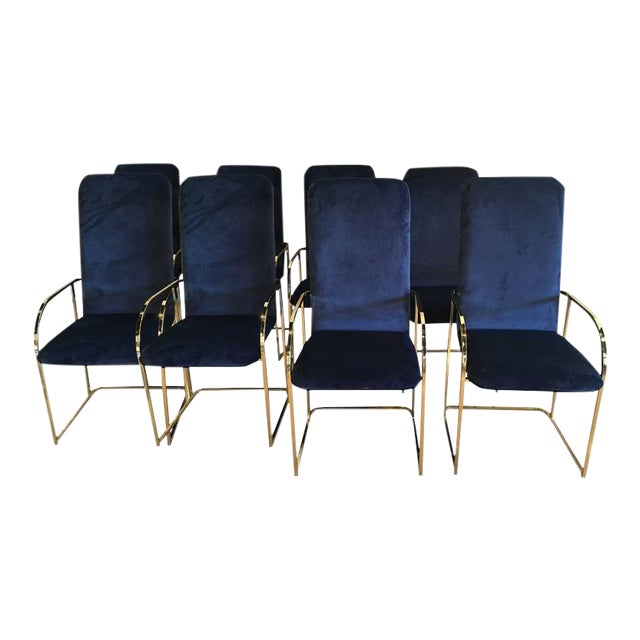 DIA Brass Navy Velvet Dining Arm Chairs - Set of 12 For Sale