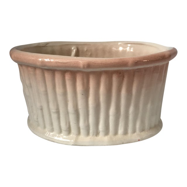 Ombré Faux Bamboo Ceramic Planter For Sale