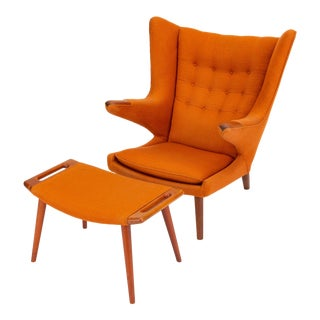Hans Wegner Papa Bear Chair and Ottoman With Vermillion Upholstery For Sale