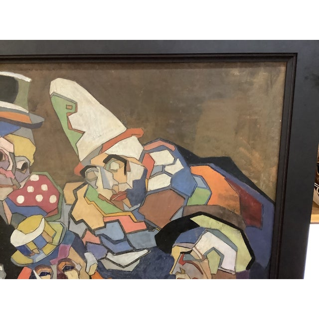 Midcentury Cubist Style / Folk Art Clown Painting For Sale - Image 4 of 12