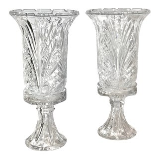 Hurricane Candle Holders With Bases Pillar / Taper Candles - a Pair For Sale