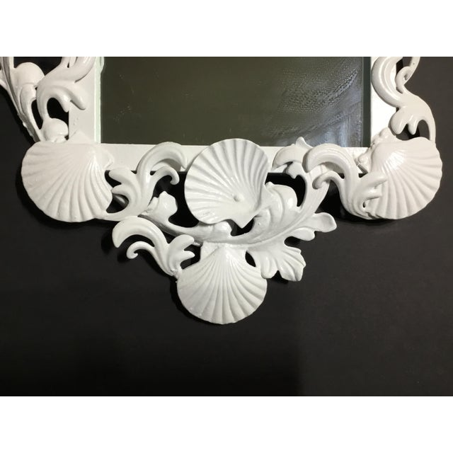 Cast Iron White Iron Sea Shell Mirror For Sale - Image 7 of 12
