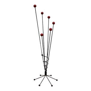 Vintage Retro French Roger Feraud Style Sculptural Black Iron Atomic Coat and Hat Stand For Sale