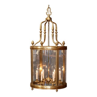 Mid-20th Century French Six-Light Brass Lantern With Decorative Finials For Sale