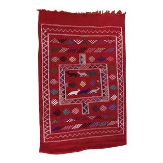 1960s Vintage Moroccan Berber Kilim Rug - 3′2″ × 4′10″ For Sale