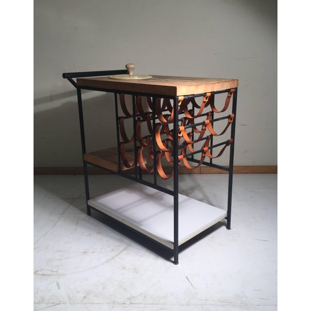 Mid-Century Modern Arthur Umanoff Bar Cart With Wine Rack and Butcher Block For Sale - Image 3 of 9