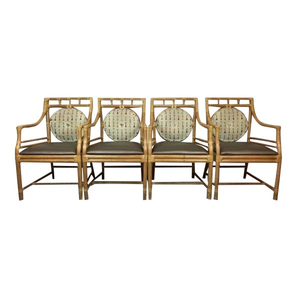 Vintage McGuire Style Rattan Arm Chairs With Rawhide Strapping - Set of 4 For Sale