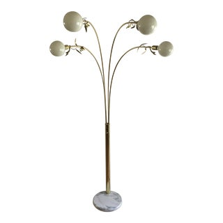 Tulip Style Mid-Century Modern Brass Four Swivel Arm Floor Light With Marble Base For Sale