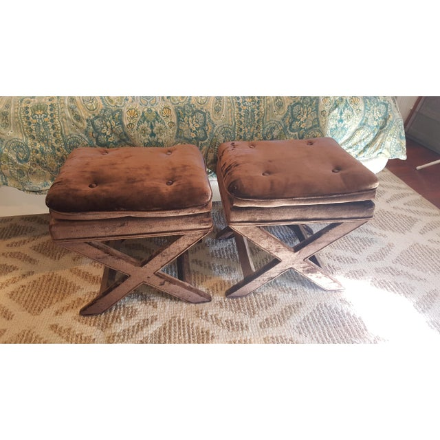 Brown Velvet X-Base Benches - A Pair - Image 3 of 4