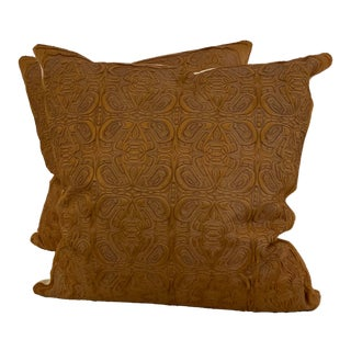 "Etched ""Paul"" Hair on Hide Pillows - a Pair For Sale"