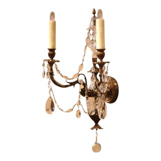 French Louis XVI Bronze & Cut-Glass Sconces - a Pair For Sale