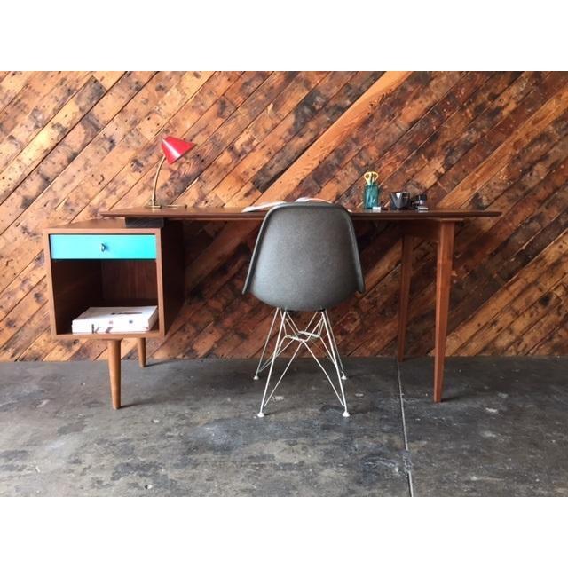 Mid-Century Style Walnut Desk - Image 4 of 8
