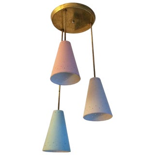 Mid Century Modern Graduated Pastel Cone Cluster Pendants by Lightolier For Sale