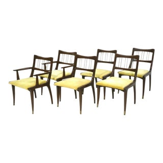 Set of 6 Lane Mid-Century Modernist Walnut Dining Chairs W Metal Rods and Brass Sabots For Sale