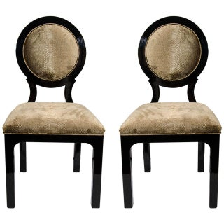 Pair of 1940's Hollywood Regency Side Chairs in Luxurious Embossed Velvet For Sale