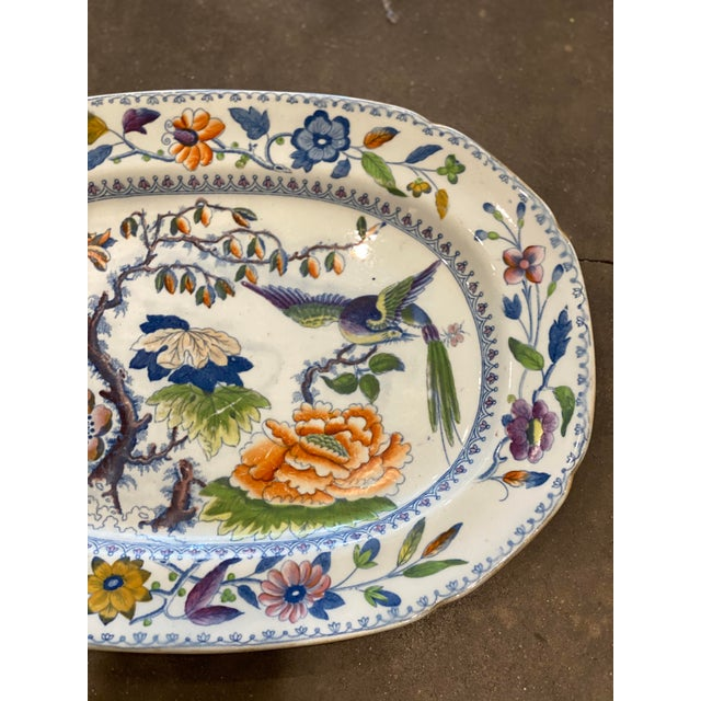 "Chinoiserie Antique ""Flying Bird"" Davenport Platter For Sale - Image 3 of 8"
