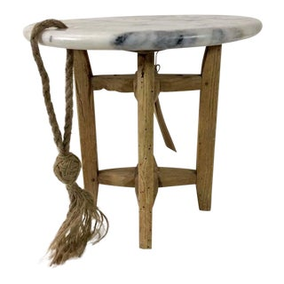 Sarreid Ltd. Marble & Reclaimed Lumber Miniature Table