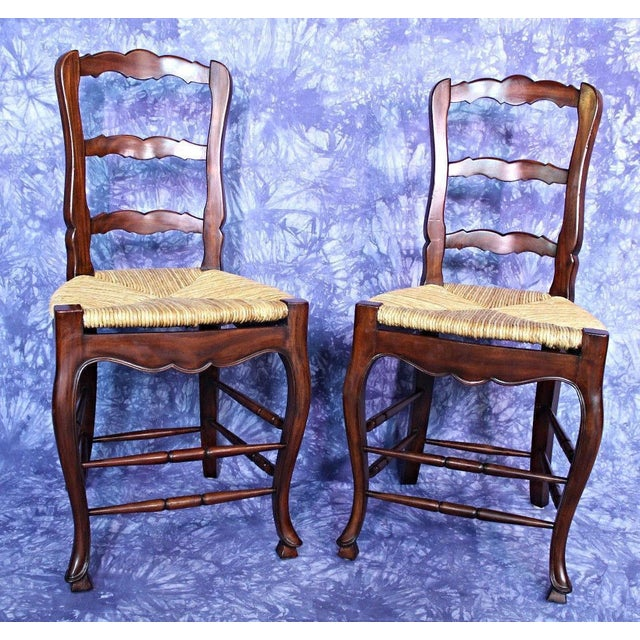 French Country Rush Seat Counter Chairs - A Pair - Image 2 of 8