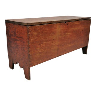 Antique Red Distressed Trunk For Sale