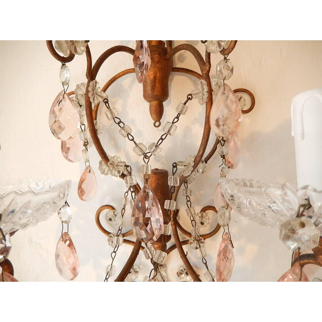 French Maison Baguès Style Pink Floral Crystal Sconces, circa 1920 For Sale In Los Angeles - Image 6 of 11