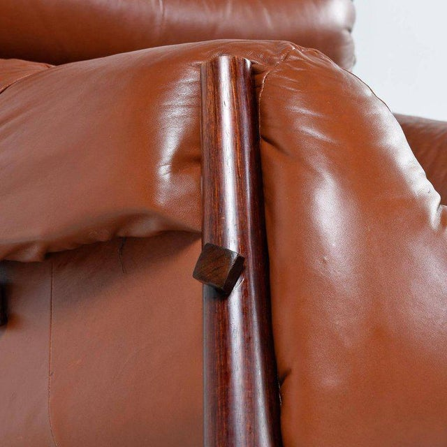 Wood Percival Lafer Mp-81 Brazilian Rosewood & Leather Lounge Chairs and Ottoman Set For Sale - Image 7 of 13