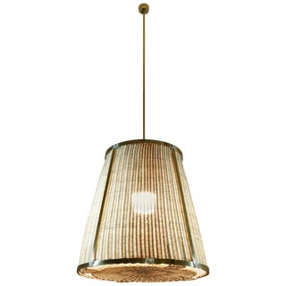 Caeli-I Contemporary Monumental Rattan Pendant Light, Flow Collection For Sale