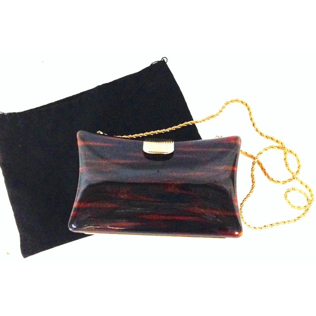 1980'S Italian Lucite faux-tortoise & gilt gold brass hard case hand bag By, Jordan Marsh. This polished Lucite faux...