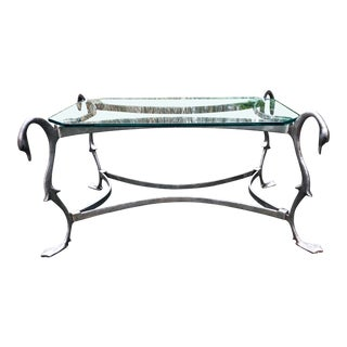 1970s French Maison Jansen Style Iron Swan Coffee Table For Sale
