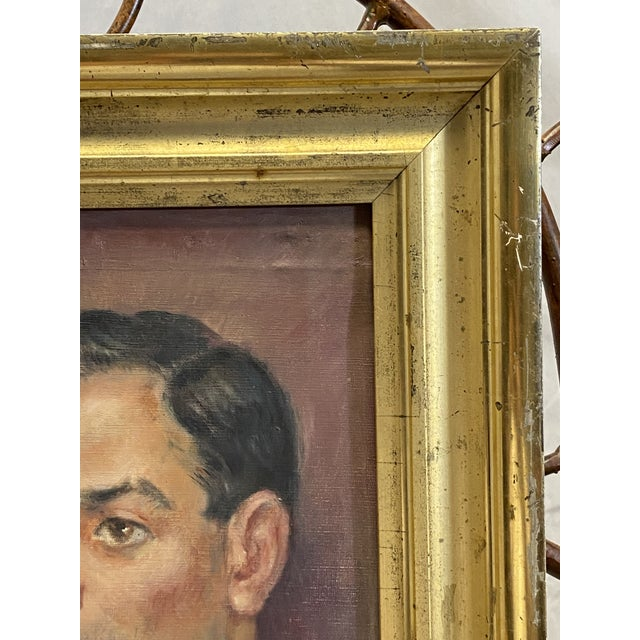 Vintage Signed Oil on Canvas Portrait of a Handsome Man Gilt Gold Frame 1942 Painting For Sale In New York - Image 6 of 10