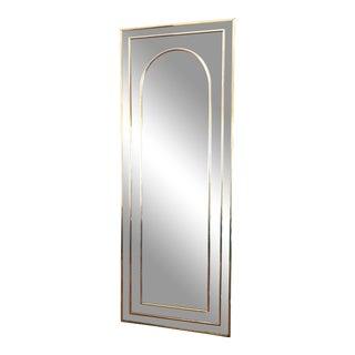1970s Mid-Century Art Deco Gold Rectangular Mirror For Sale