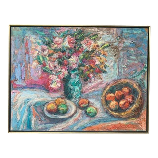 Vintage Original Impressionist Sill Life Oil Painting For Sale