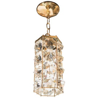 Mid-Century Modern Brass and Cut-Glass Chandelier by Bakalowits & Sohne