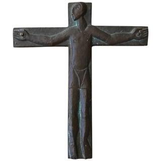 Midcentury Brutalist Steel Crucifix Cross For Sale