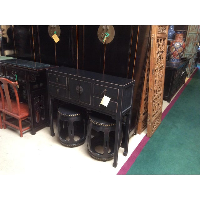 Chinese Oriental Rustic Black Lacquer Drawers Side Table For Sale - Image 10 of 10