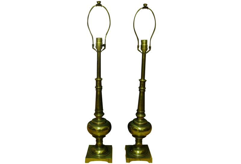 Stiffel Vintage Brass Table Lamps   A Pair