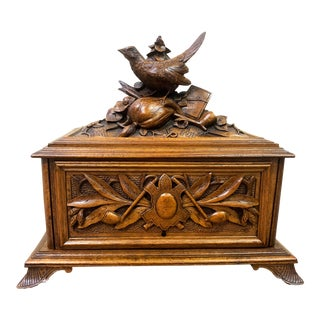 Antique Swiss Black Forest Wood Carved Box With Bird Motif and Hunt Theme C1900 For Sale