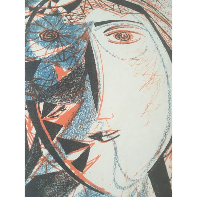 1950s Vintage Mid-Century Richard Zoellner Abstract Woman Flower Lithograph Print For Sale - Image 5 of 13