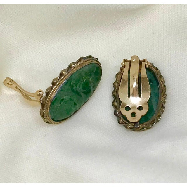 1940s 1940s Carved Jade, Sterling and 14k Clip-Back Earrings For Sale - Image 5 of 8