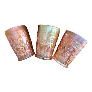 "Set of 3 -Fenton ""Apple Tree"" Pattern Golden Iridescent/Marigold Tumblers - Circa 1912 For Sale"