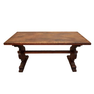 Small Antique French Mid 19th Century Carved Oak Trestle Dining Table Very Old and Rare For Sale