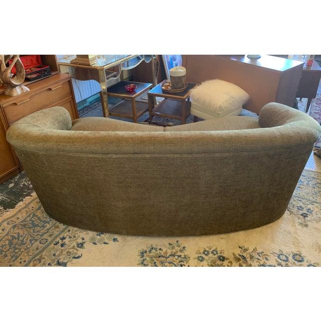 Drexel Heritage Kidney Bean Shape Olive-Green Curved Sofa For Sale - Image 9 of 12