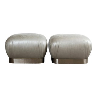 Grey Leather & Stainless Steel Karl Springer Style Souffle Ottomans Wheels, Pair For Sale