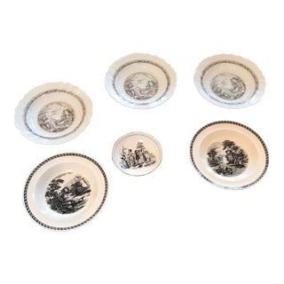 Black and White Bowls by Royal Chelsea, Wedgewood & Hutschenreuther - Set of 6 For Sale