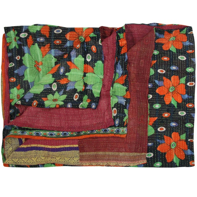 Rug & Relic Vintage Teal and Orange Daisy Kantha Quilt - Image 1 of 3