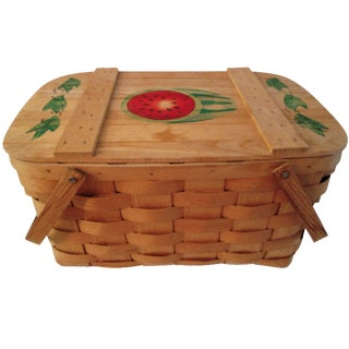 Vintage Vermont Stenciled Picnic Basket For Sale