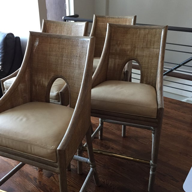 Leather Rattan Cane Counter Height Chairs - Set of 4 - Image 2 of 12
